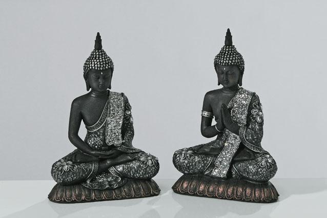 buddha figuren schwarz mit deko im 2er set my buddha. Black Bedroom Furniture Sets. Home Design Ideas